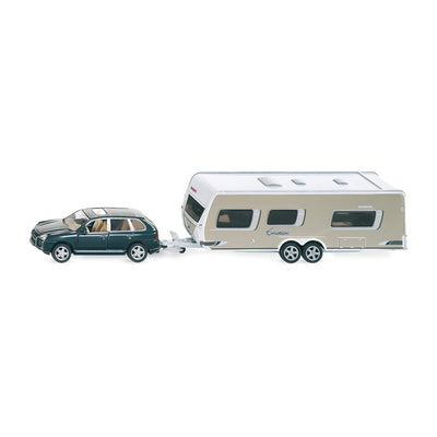 Siku Car with Caravan Camper and Family 1:55 Scale Model