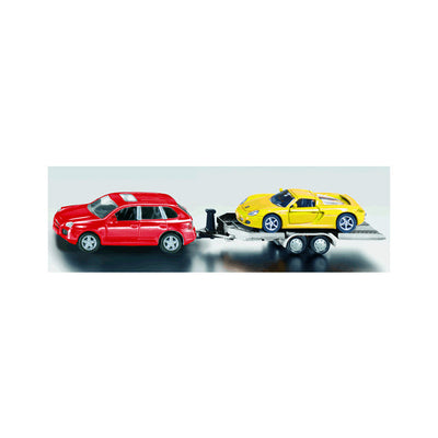Siku Car with Trailer Carrying Sports Car 1:55 Scale Model