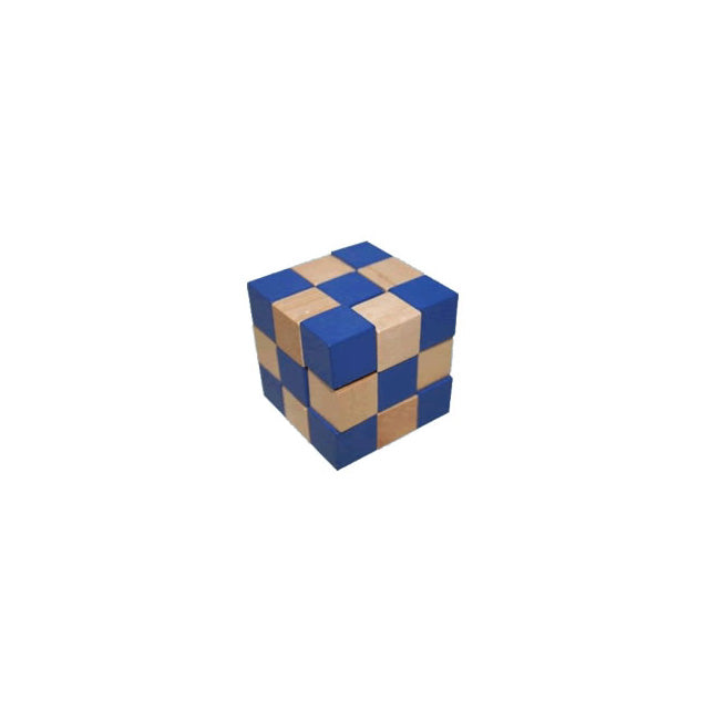 3-D Mini Wooden Checkered Cube Puzzle