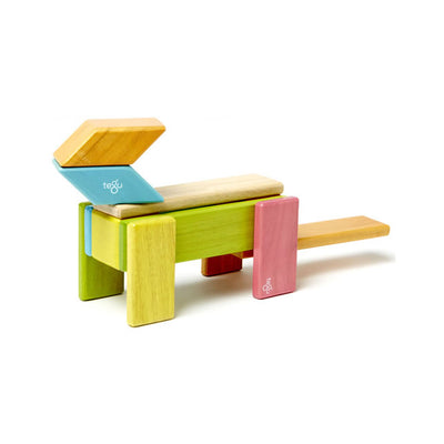 Tegu 14 Piece Magnetic Wooden Building Block Set - Tints