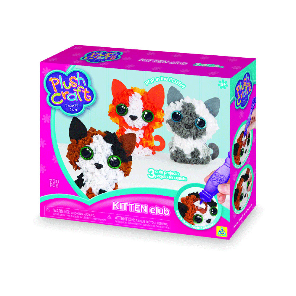 The Orb Factory Plush Craft 3D Kitten Club