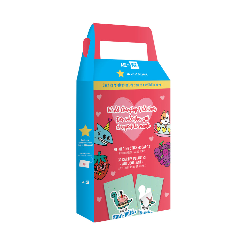 ME to WE World-Changing Valentines Sticker Cards Box of 30 - Pets Theme