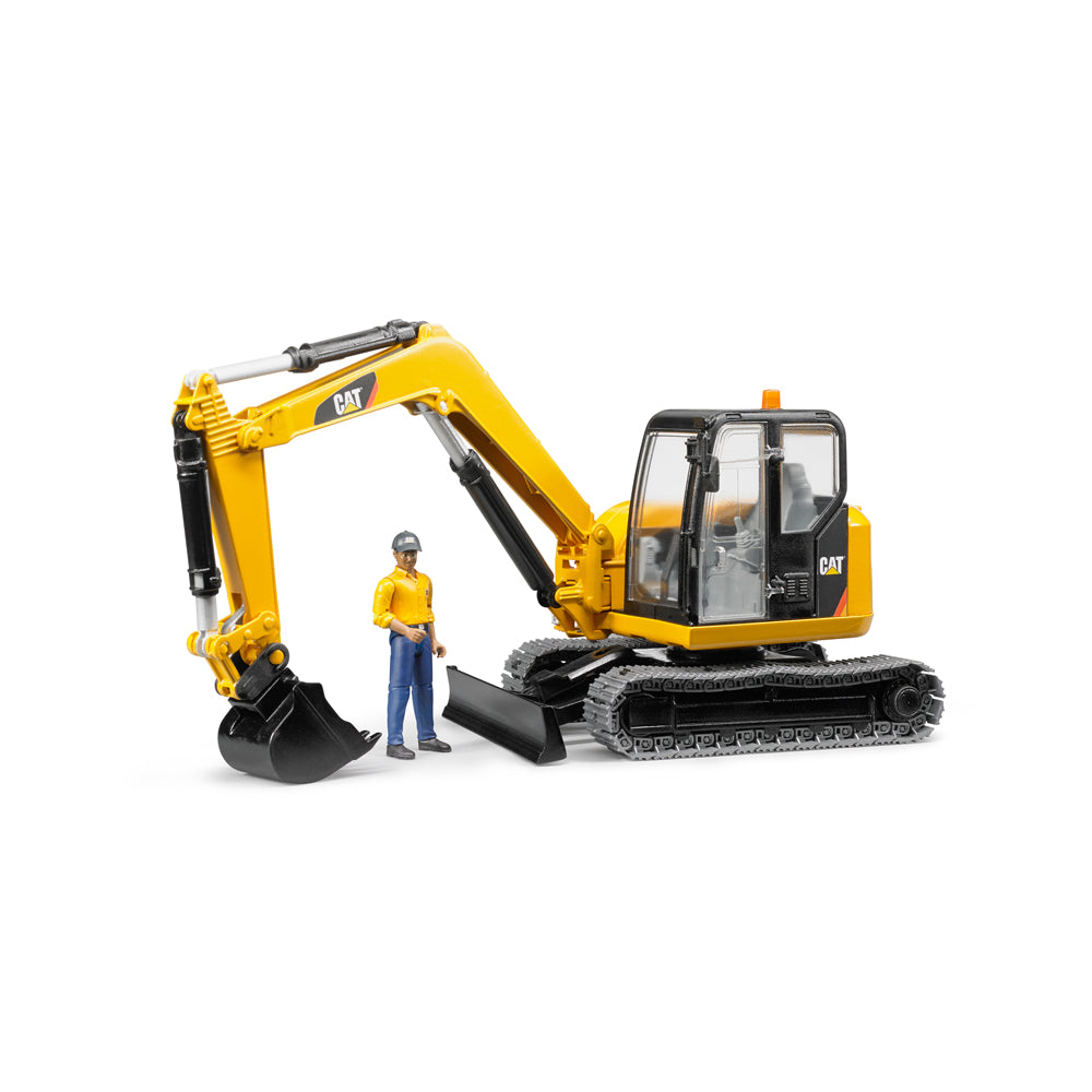 CAT Mini Excavator with Worker