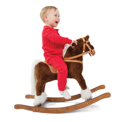 Brown and White Rocking Horse