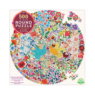 eeBoo Blue Bird, Yellow Bird 500pc Round Puzzle