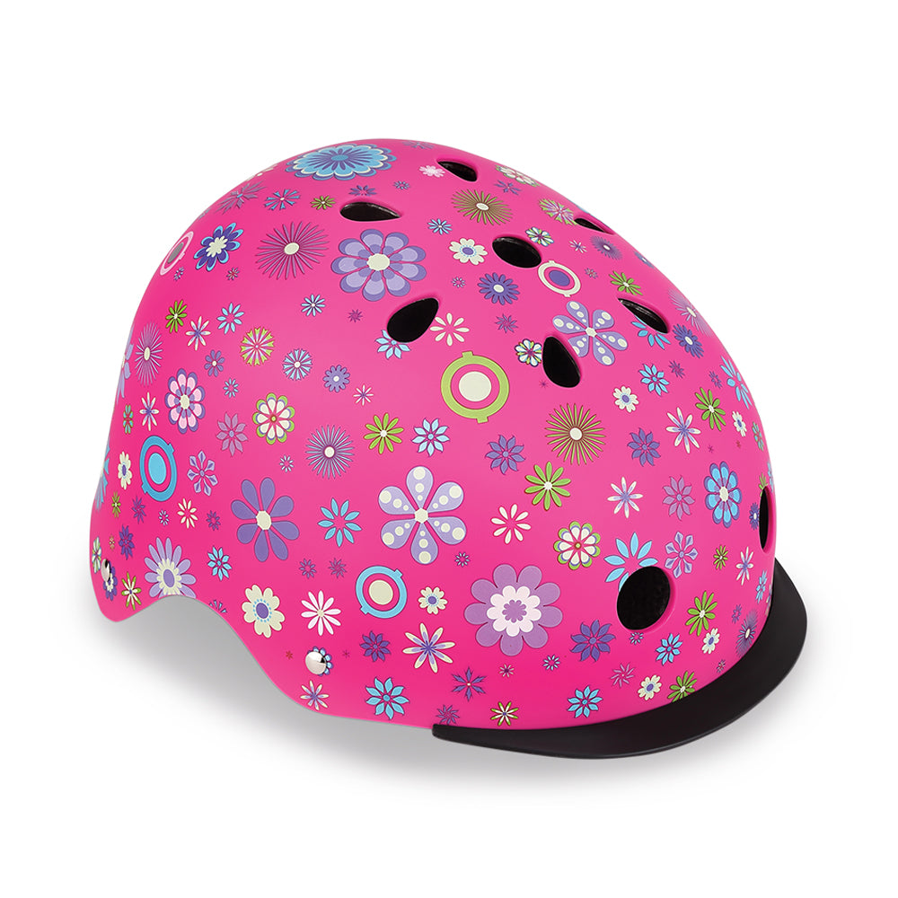 Globber Elite Pink Flowers Helmet with Lights XS/S
