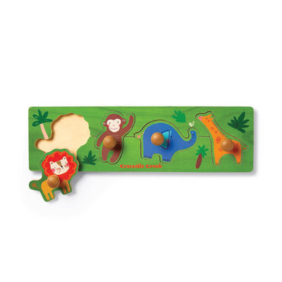 Crocodile Creek Jungle 4pc Wood Knob Puzzle