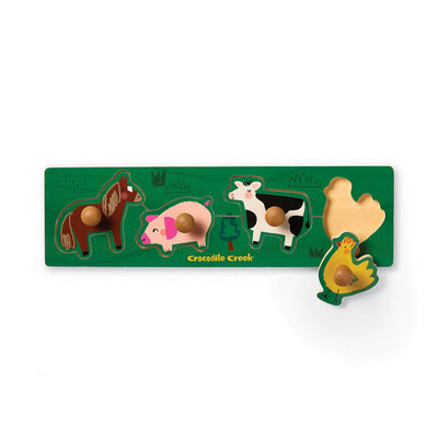 Crocodile Creek Barnyard 4pc Wood Knob Puzzle