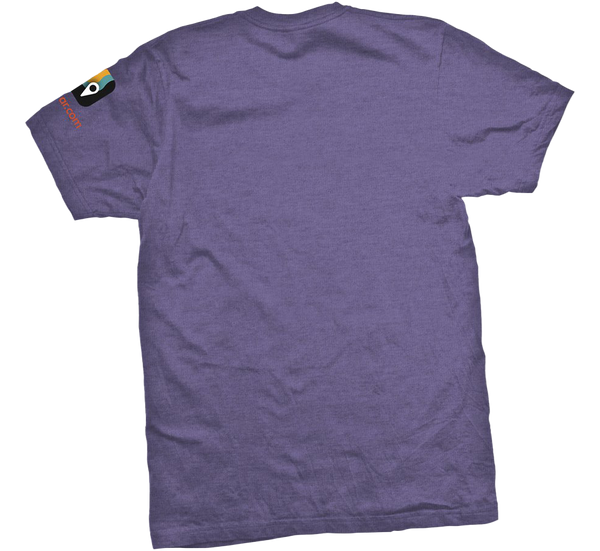 Back view of purple short sleeved t-shirt with MyRadar favicon symbol on the left sleeve.