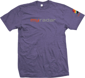 Front view of purple short sleeved t-shirt with MyRadar text logo emblazoned on the chest, and MyRadar favicon symbol on the left sleeve.