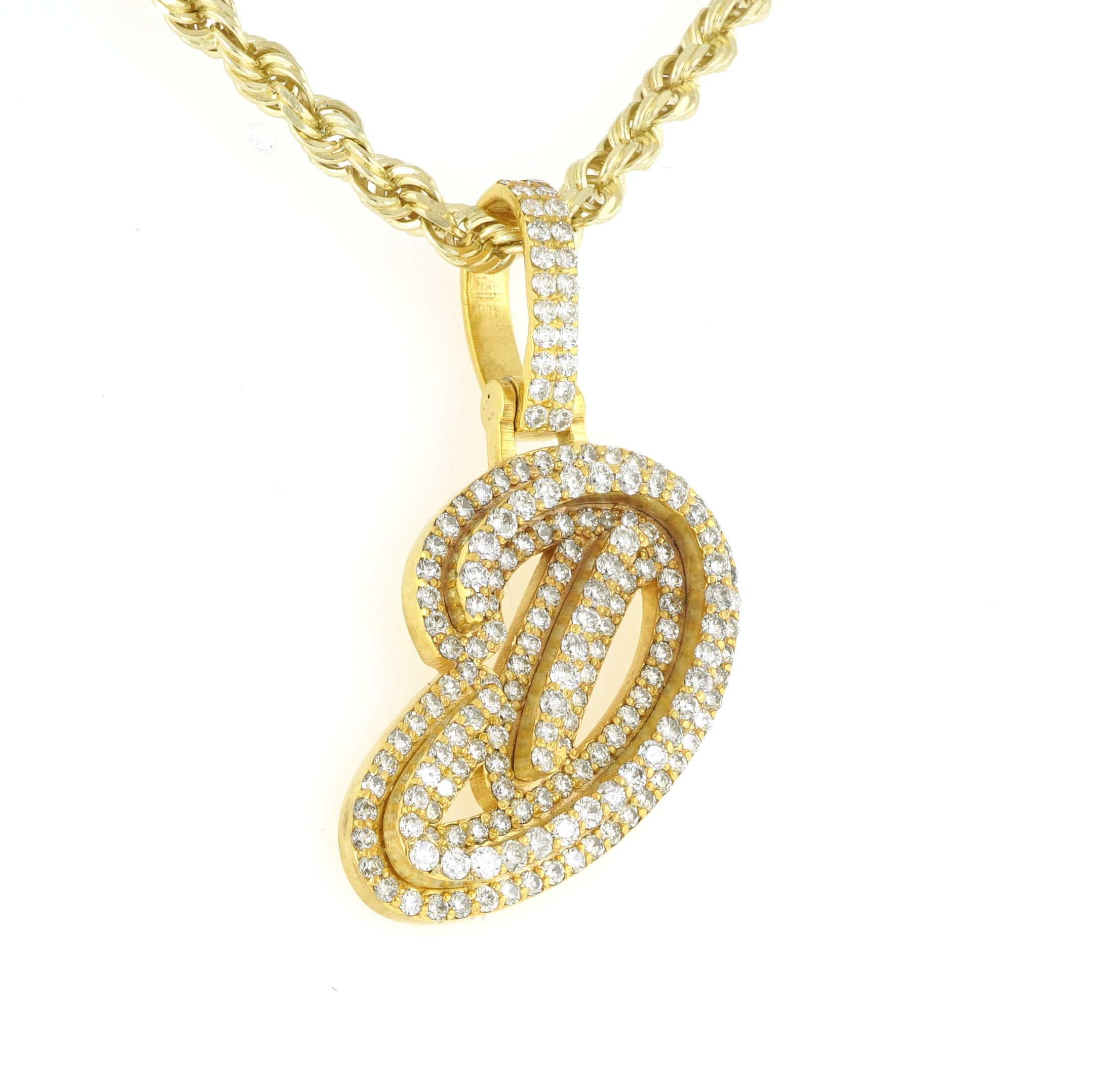 10K Yellow Gold Real Diamond Cursive Initial Letter Pendant 2.75CT