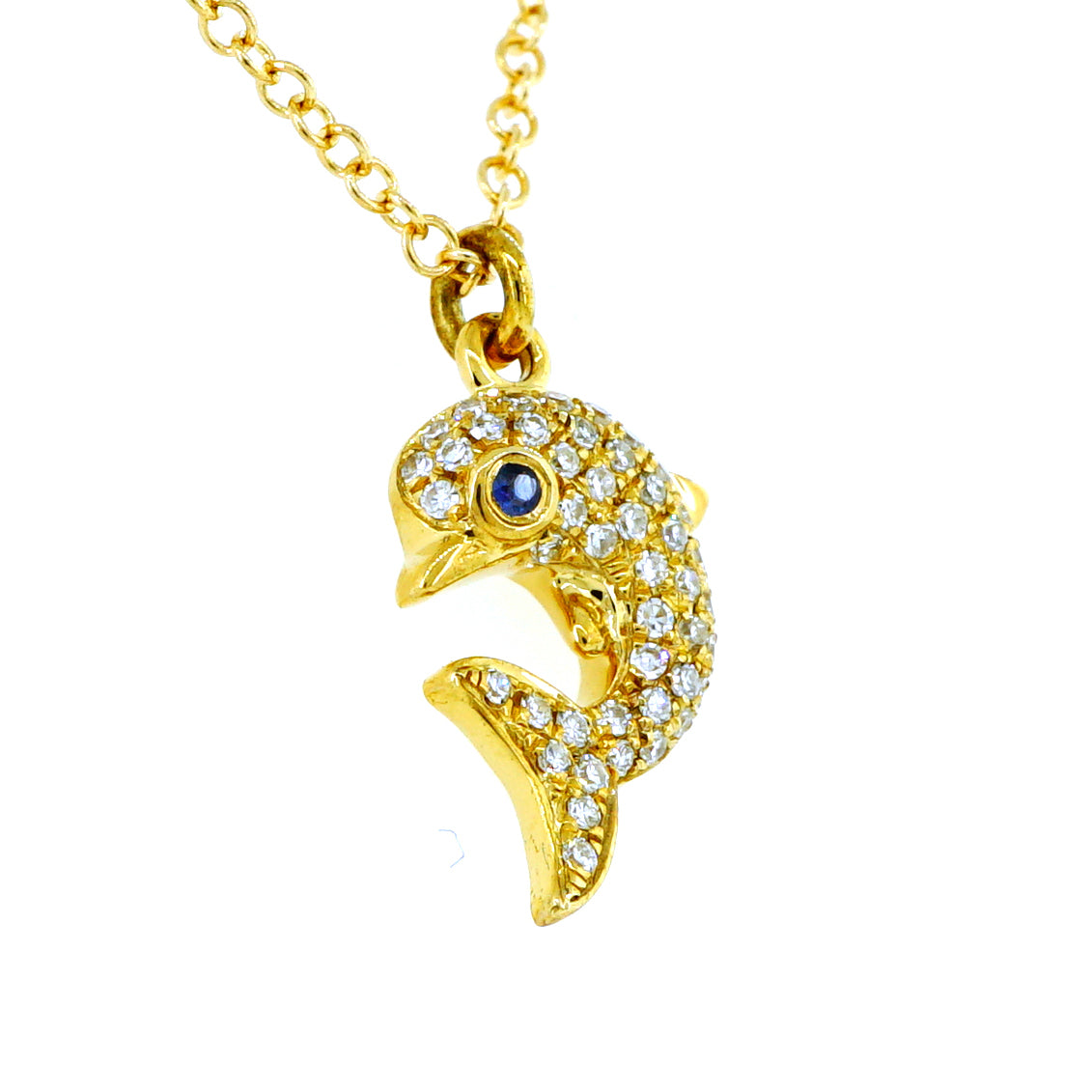 14k Yellow Gold Dolphin Diamond Pendant Charm 0.08ctw with Chain