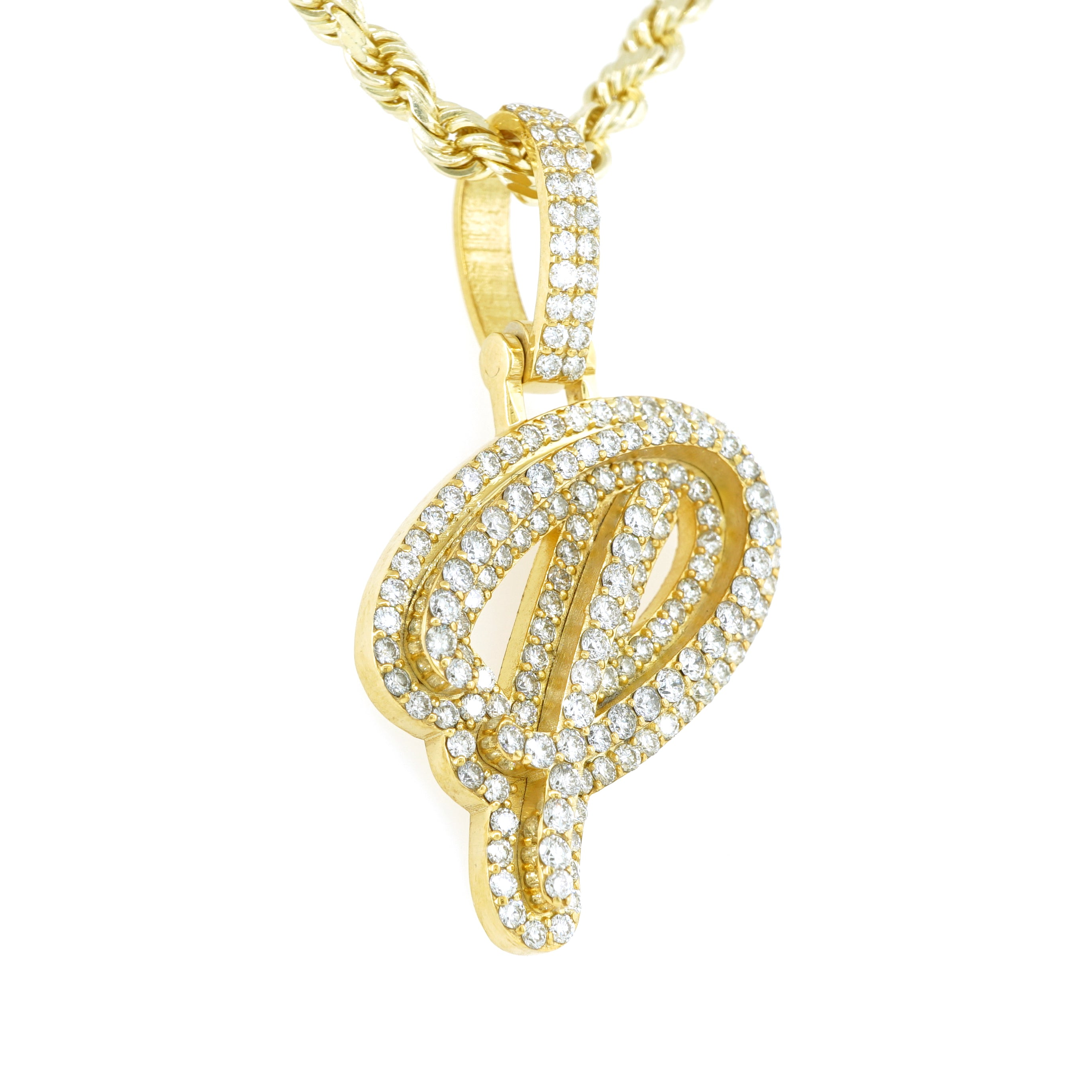 10K Yellow Gold Real Diamond Cursive Initial Letter Pendant 2.15CT