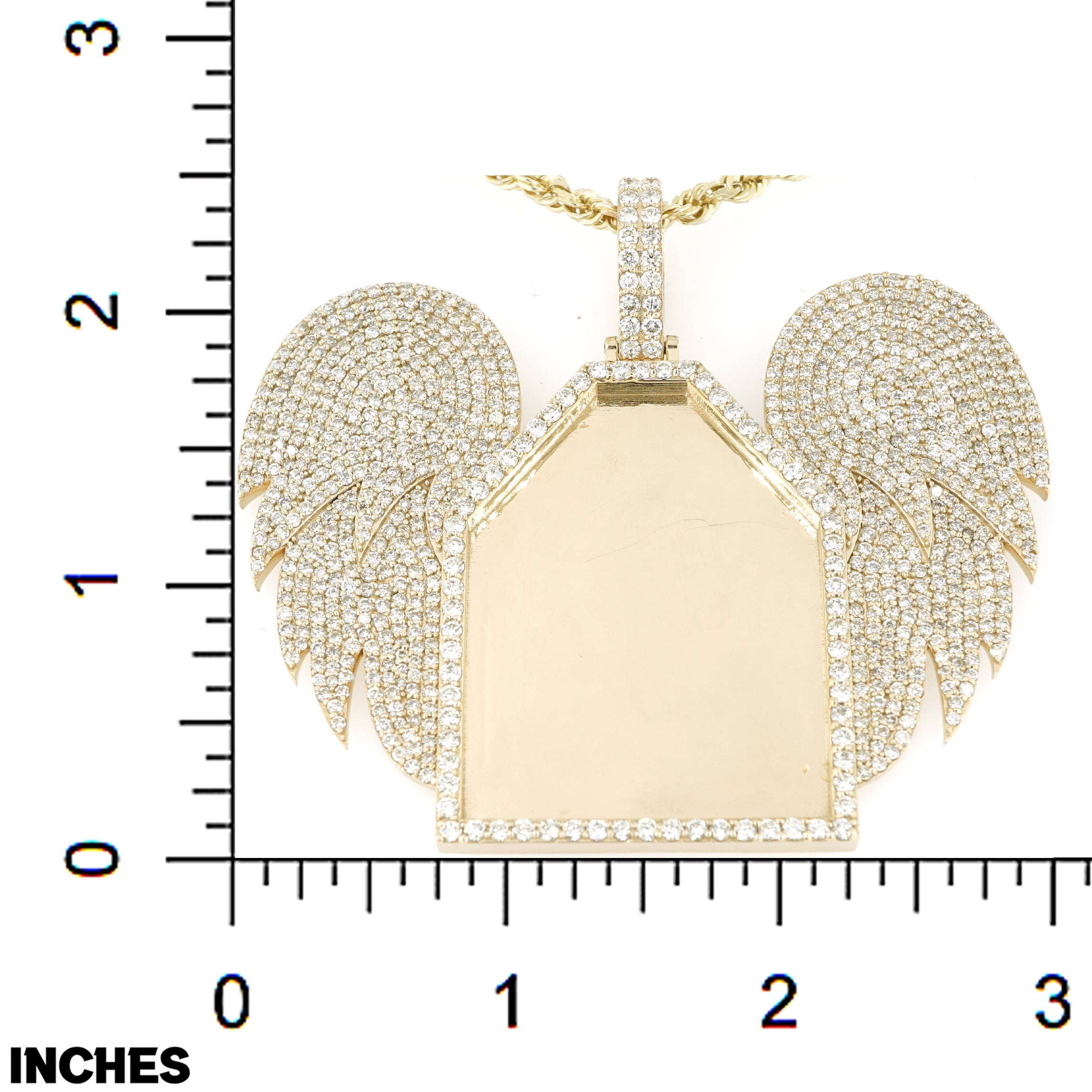 10k Custom Yellow Gold Picture Pendant With Diamond Wings 11.00CT 2.50""
