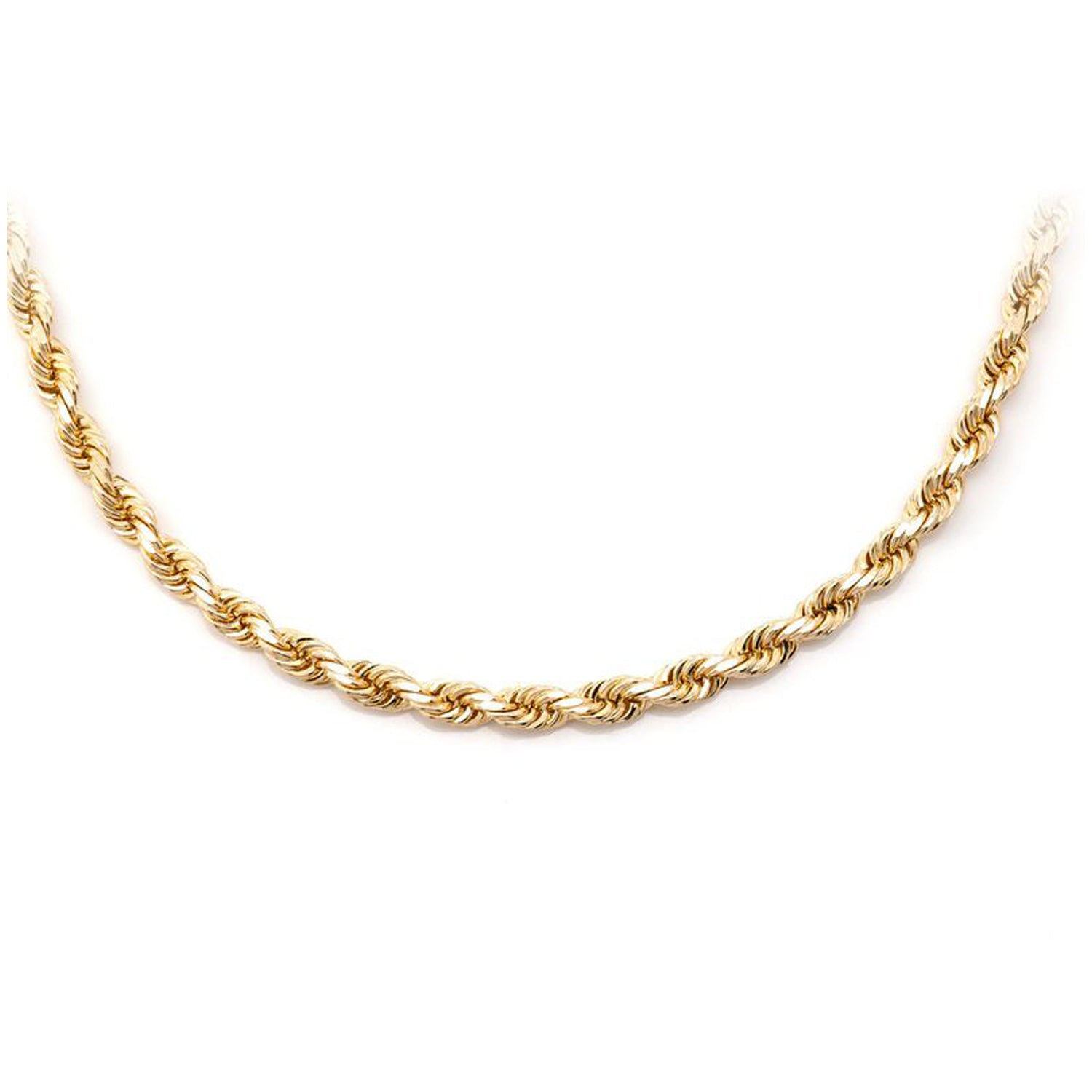 14Kt & 10Kt Solid Gold Diamond Cut Rope Chain (3.5mm)