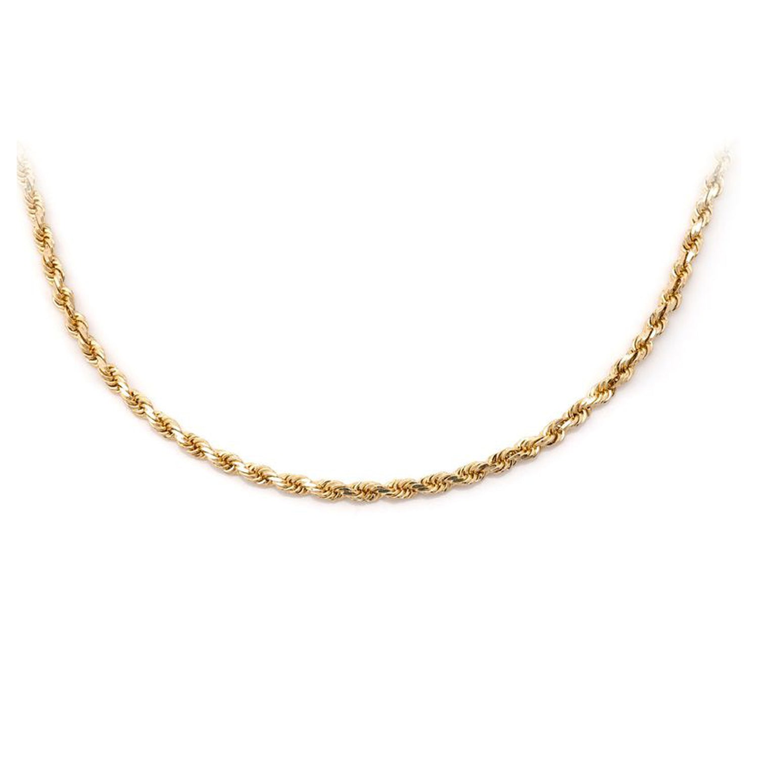 10Kt Gold Hollow Diamond Cut Rope Chain (2mm)