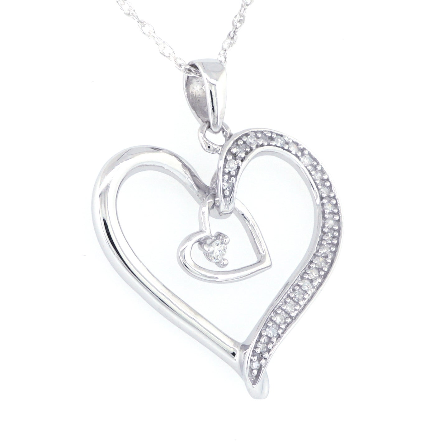 Sterling Silver Diamond Heart Necklace 0.10 ctw