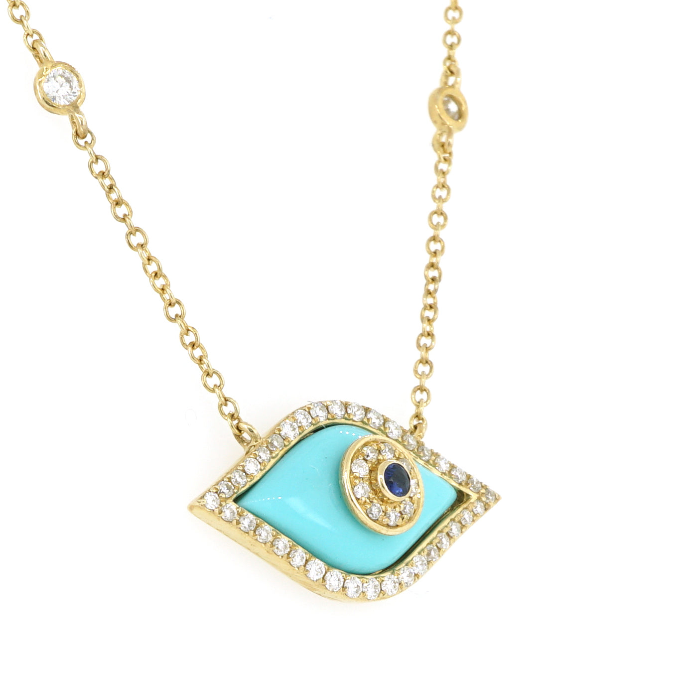 14k Yellow Gold Evil Eye Diamond Necklace 0.28ctw with Chain