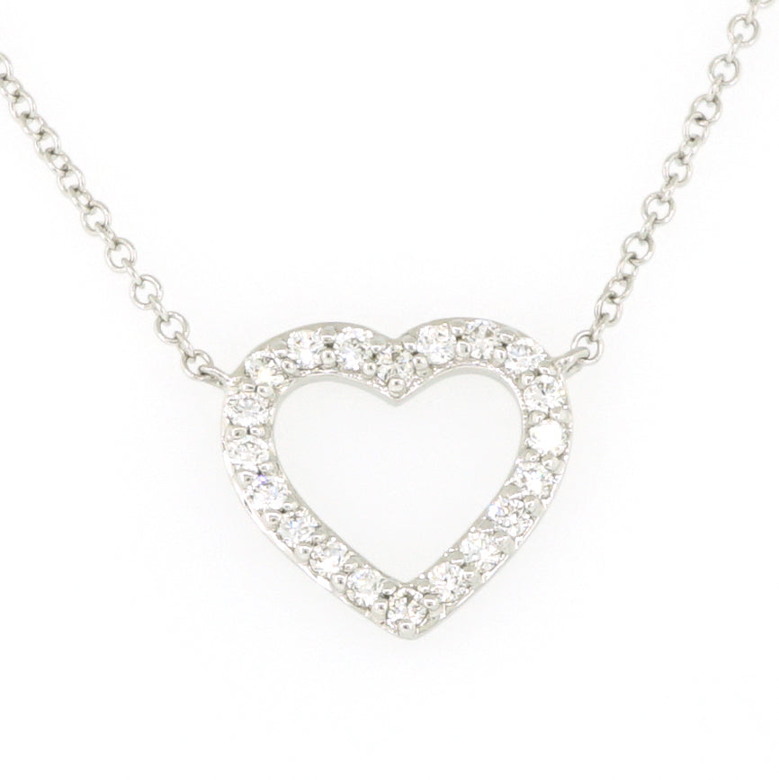 14k White Gold Heart Diamond Necklace 0.21ctw with Chain