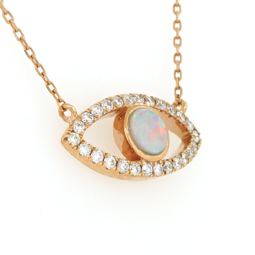 14k Rose Gold Evil Eye Diamond Necklace 0.22ctw with Chain