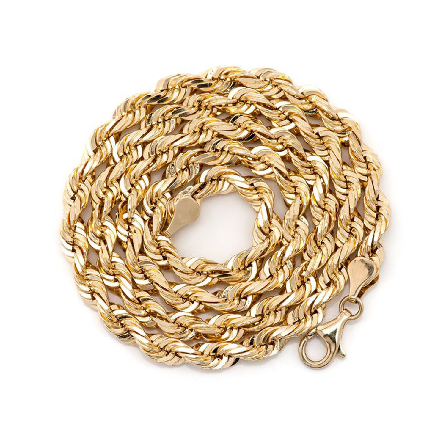 14Kt & 10Kt Solid Gold Diamond Cut Rope Chain (5mm)