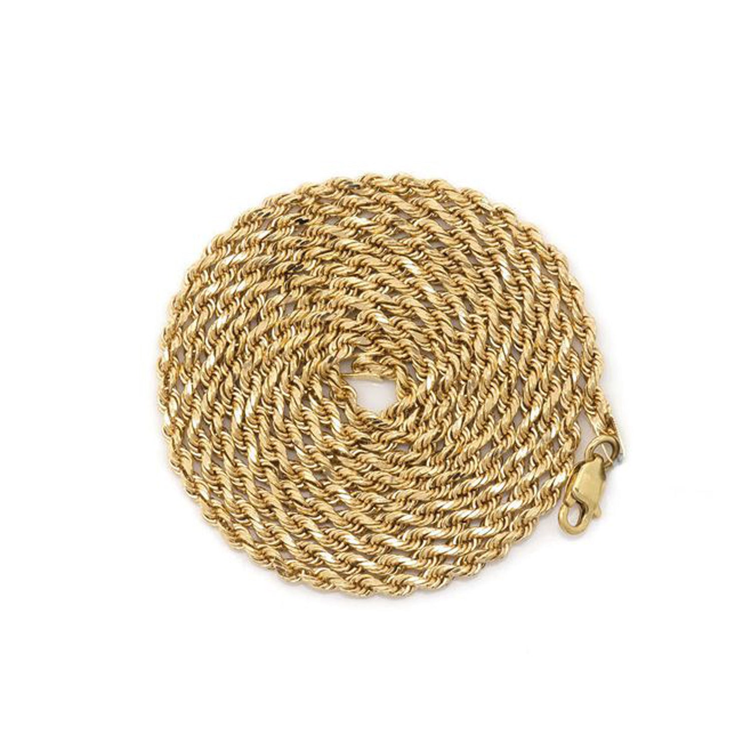 14Kt & 10Kt Solid Gold Diamond Cut Rope Chain (2.5mm)