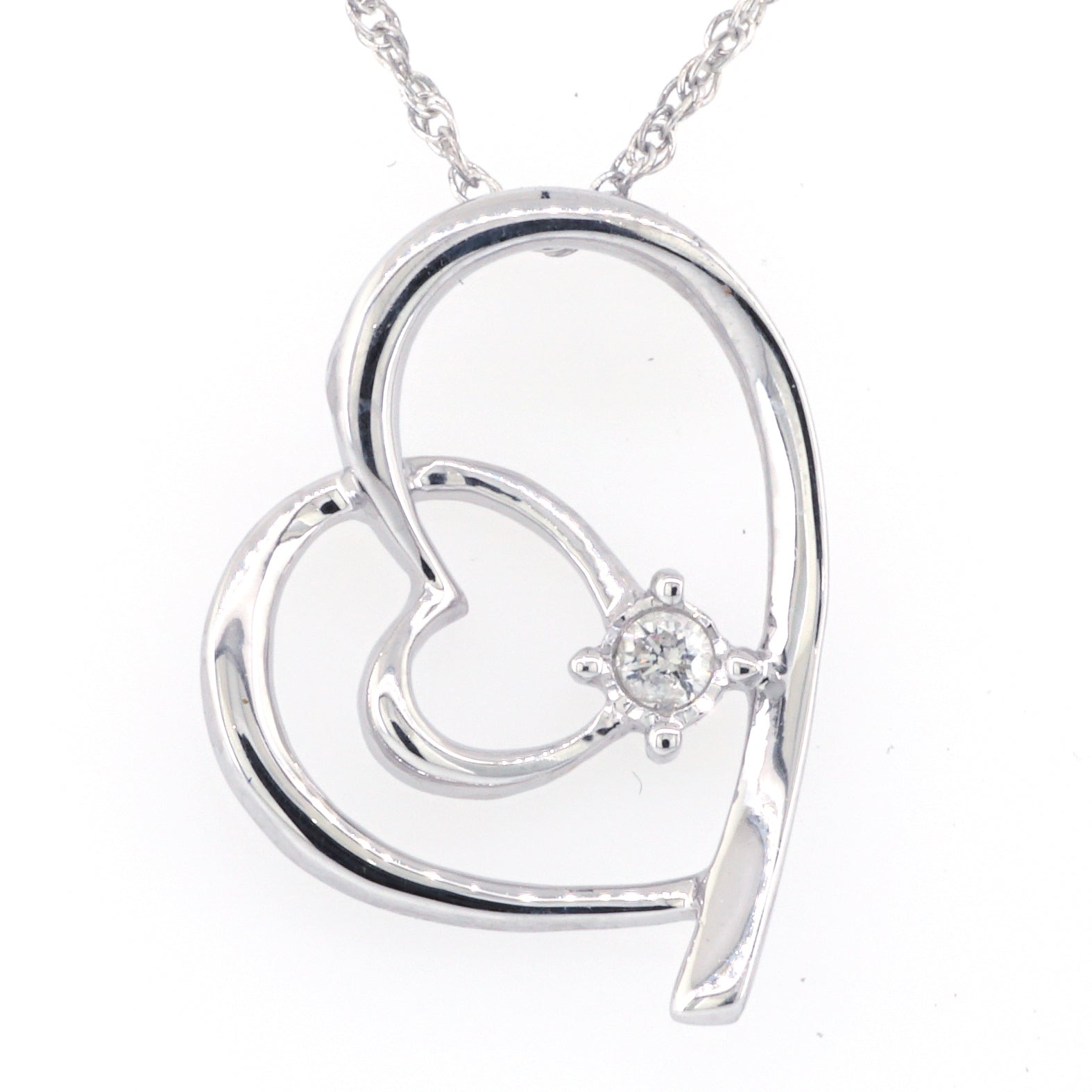 Sterling Silver Diamond Heart Necklace 0.05ctw