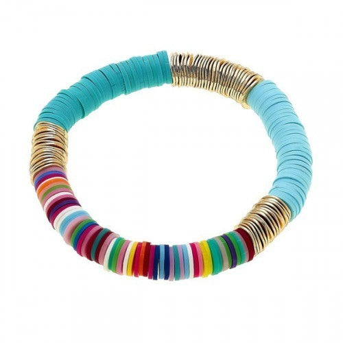 Teal & Multi Color Emberly Color Block Bracelet
