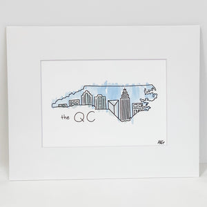 Matted Watercolor CLT/NC Print