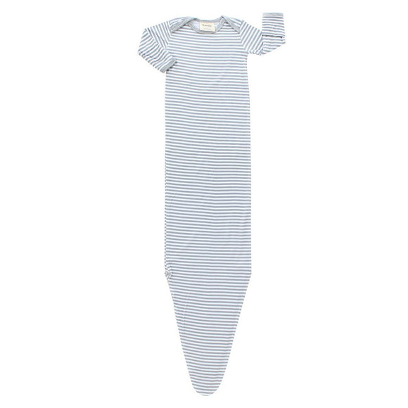 Neutral Stripe Knotted Gown