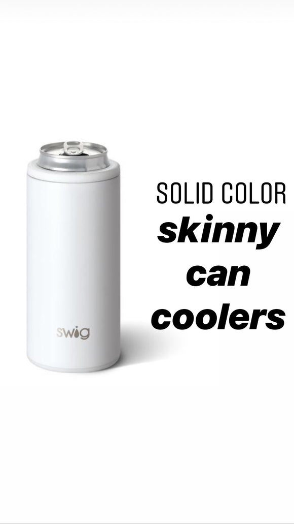 Swig Skinny Can Cooler - Solid Colors Designs