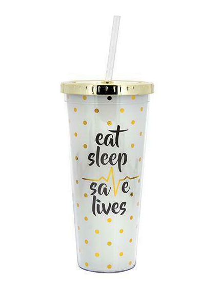 Straw Tumbler Eat, Sleep, Save Lives