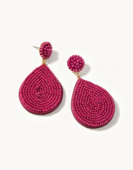 Beaded Petal Earring Merlot