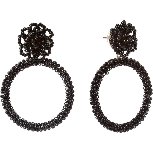Beaded Pouf Statement Earrings Black