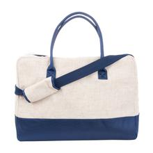 Navy Linen Duffle Bag