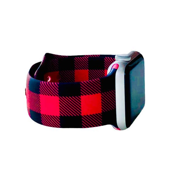 Red and Black Buffalo Plaid Apple Watch Bands