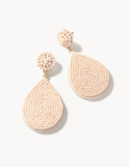 Beaded Petal Earrings Tan