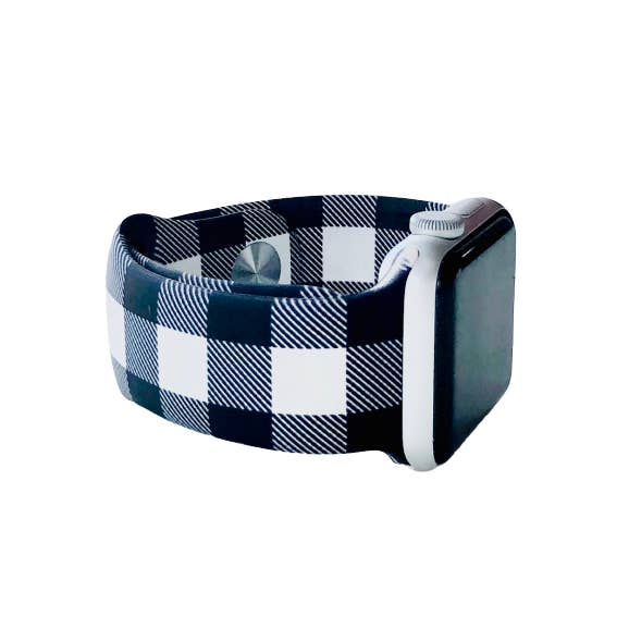 Black and White Buffalo Plaid Apple Watch Bands