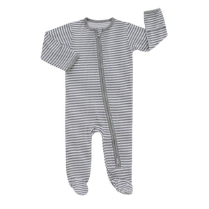 Grey Stripe Footed Romper Pajama