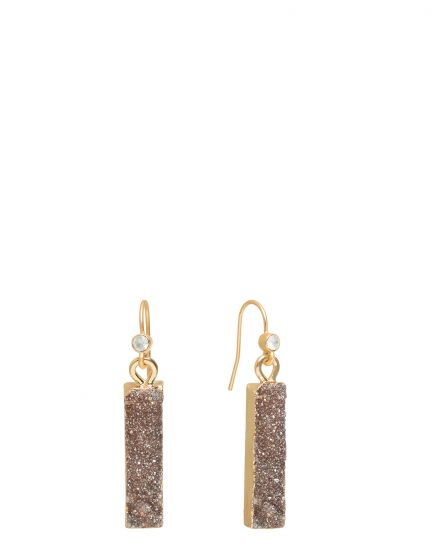 Druzy Bar Earrings Iced Grey