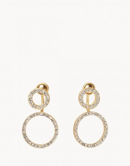 Double Ring Ear Jacket Earrings Crystal