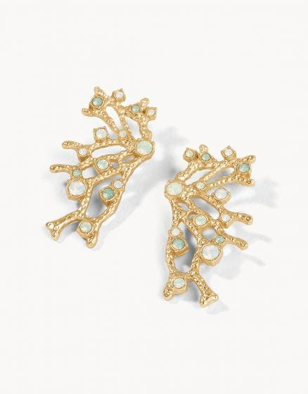 Coral Fan Statement Earrings Opal