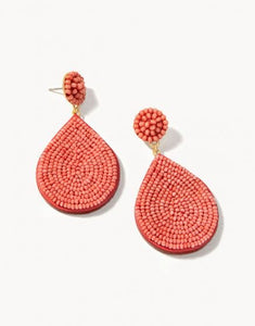 Beaded Petal Earrings Rose