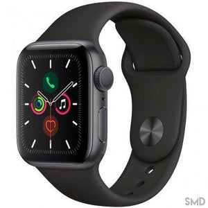 Apple Watch Series 5, GPS, 44mm, Space Gray Aluminium Case Black Sport Band - MWVF2LL/A