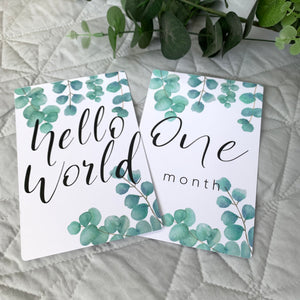 eucalyptus leaves baby milestone cards, hello world, one month