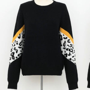 Black Knitted Leopard Sweater