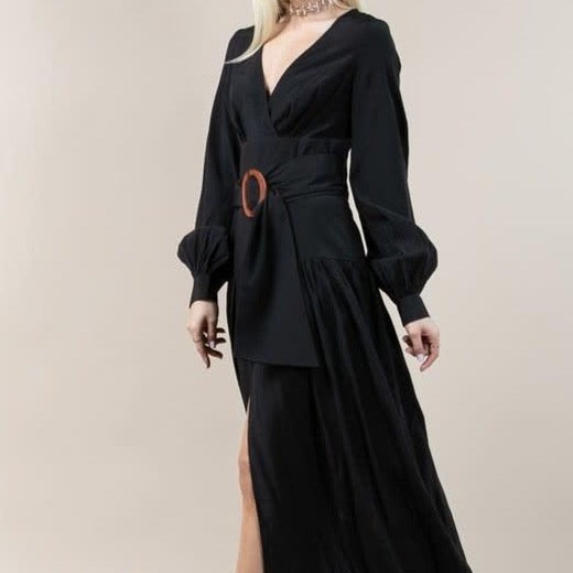 Belted Black Maxi