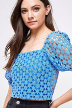 Load image into Gallery viewer, Eyelet Puff Sleeve Top