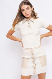 Le Lis Leather Mix Knitted Mini Skirt