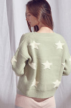 Load image into Gallery viewer, Fuzzy Mint Star Sweater